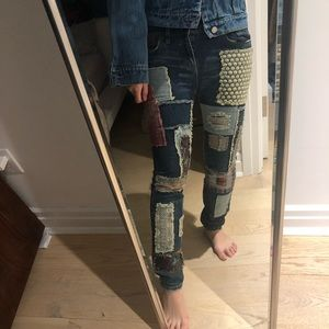 One of a kind free People patchwork jeans